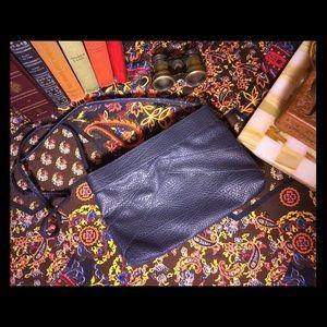 Vintage Unique Textured Blue Leather Purse MINT!